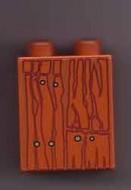 4066pb086-68G DUPLO steen 1x2x2 Houtpatroon oranje, donker gebruikt *