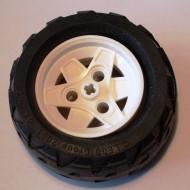 41896c01-1 Wiel 43.2mm doorsnede 26mm breed TR klein, dikke zwarte truckband 81.6x31 H (41896/45982) (PAKKETZENDIONG!) Wit (NIEUW)