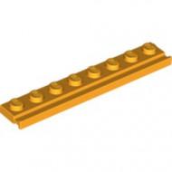 4510-110 Platte plaat 1x8 met deurrail/dakgoot oranje, lichthelder NIEUW *1L317/6