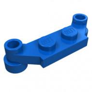 4590-7 Platte plaat 1x4 offset (plaat 2 x1+gaten links en rechts) blauw NIEUW *1L319