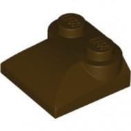 47457-120 Steen 2x2x 2/3 twee noppen, gebogen einde (kikker) bruin, donker NIEUW *