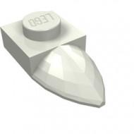 49668-46 Platte plaat 1x1 met tand IN VERLENGDE wit, melkwit lichtgevend NIEUW *1L290/3