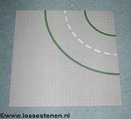 609p01-9G Wegenplaat 32x32 gebogen ZONDER FIETPAD 9 noppen zijkant lichtgrijs (klassiek) gebruikt *3K000