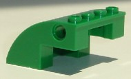 61487-6G Steen, 4x4x2 afgerond met gaten groen gebruikt *