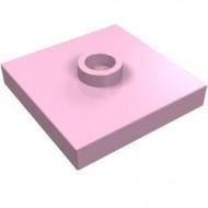 87580-104 Platte plaat 2x2 1 centrale nop roze, helder NIEUW *1L235