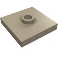 87580-69 Platte plaat 2x2 1 centrale nop crème,donker NIEUW *1L348+9