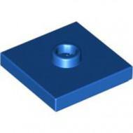 87580-7 Platte plaat 2x2 1 centrale nop blauw NIEUW *1L0000