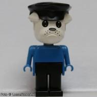 fab2bG Bulldog 2- Blauw lichaam, zwarte broek, wit hoofd, zwarte politiepet gebruikt loc