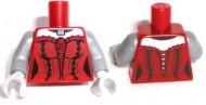 973pb1587c01-59 Torso vrouw met corset, matzilveren armen (coltlm-1) Rood, donker NIEUW loc