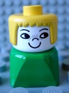 dupfig019 Duplo 2 x 2 x 2 Figure Brick Early, Female on Green Base, Yellow Hair, Nose Freckles loc