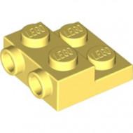 99206-103 Platte plaat 2x2x2/3 met 2 noppen zijkant geel, lichthelder NIEUW *1L0000