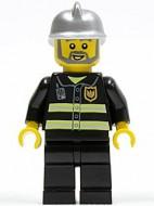 cty0004G Brandweerman,baard, zilveren helm, jas met reflectiestrepen gebruikt loc