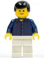 cty0037G Man, zwart classic haar, standaard hoofd, donkerblauw shirt met ruiten gebruikt *0M0000