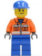 cty0054G Grondpersoneel- Oranje overall, blauwe benen, blauwe pet gebruikt loc