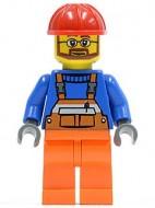 cty0096G Bouwvakker- Rode helm, oranje overall en broek, blauw hemd gebruikt loc
