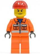 cty0137G Bouwvakker, rode veiligheidshelm, boos gezicht, oranje overall gebruikt loc