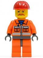 cty124G Bouwvakker oranje overall rode snor gebruikt loc