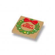 CUS3047 Tegel 2x2 Kerstkrans met Merry Christmas crème,donker NIEUW *0A000