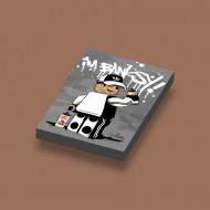 CUS3055 Tegel 2x3 Ame72 I'm Banksy! Grijs grijs, donker (blauwachtig) NIEUW *0A000