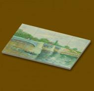CUS4005 12 tegels 2x2 De brug bij Courbevoie- Vincent van Gogh wit NIEUW *0A000