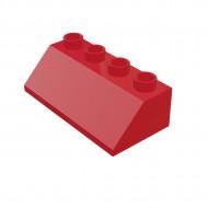 HU003 DAKPAN 2x4 45 graden DUPLO compatible rood NIEUW loc