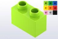 HU2NOP-36 COMPATIBEL met DUPLO steen 1x2  (Hubelino) Groen, helder NIEUW loc