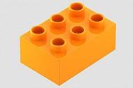 HU87084-4 COMPATIBEL met DUPLO steen 2x3  (Hubelino) Oranje NIEUW loc