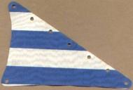 sailbb20-1G Zeil 15x22 driehoek met blauwe strepen Wit gebruikt loc