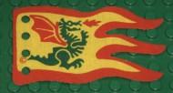 x376px1-3G Vlag 8x5 geel met rode rand en groen draak (Eénzijdig)(canvas) Geel gebruikt loc