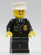 cty0098 Politie- witte pet, lach met tanden, zwart pak met logo NIEUW loc