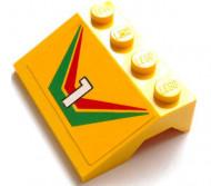 2513pb07-3G Spatbord (schuin front) met nummer 1 en groen-rood patroon Geel gebruikt loc