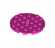 11213-47 Platte plaat 6x6 rond roze, donker NIEUW *5K0000