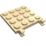 11399-2 Platte plaat 4x4 2 clips crème NIEUW *