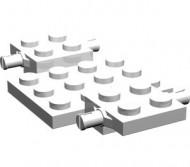 2441-1G Bodemplaat met wielhouders 7x4x2/3 wit gebruikt *3D000