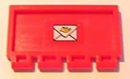 2873pb12-5G Klapdeurtje met scharnier met enveloppe rood gebruikt *1L0000