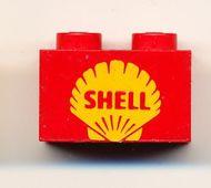 3004pb011-5G Steen 1x2 opdruk SHELL oud logo in geel rood gebruikt *0K000