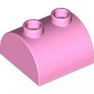30165-104 Steen 2x2 halfronde kop, 2 noppen bovenop roze, helder NIEUW *1L0000