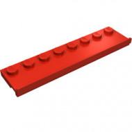 30586-5 Platte plaat 2x8 met deurrail (breed) rood NIEUW *1L291/7