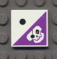 3068bpb0393-1 Tegel 2x2 Doodshoofd op paars met 1 dobbelsteennop Wit NIEUW loc