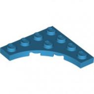 35044-153 Platte plaat 4x4 vierkant met ronde uitsnede blauw, donkerazuur NIEUW *5D0000