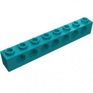 3702-39 Technic, steen 1x8 met 7 gaten turquoise, donker NIEUW *