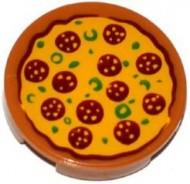 4150pb165-150 Tegel 2x2 rond pizza Pepperoni caramel, midden NIEUW *0K000