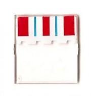 4448pb05-12G Glas voor dakraam 4x4x3 met rood/bklauw gordijn transparant gebruikt *0L0000