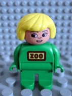 4555pb023 Duplo Figure, Female Zoo, Green Legs, Green Uniform, Yellow Hair (Zoo Keeper) loc