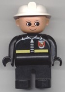 4555pb045 Duplo Figure, Male Fireman, Black Legs, Black Top with Fire Logo and Zipper, White Fire Helmet loc