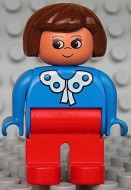 4555pb089 Duplo Figure, Female, Red Legs, Blue Blouse with White Lace Trim, Brown Hair *