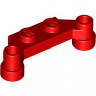 4590-5 Platte plaat 1x4 offset (plaat 2 x1+gaten links en rechts) rood NIEUW *1L240