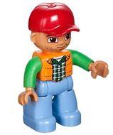 47394pb166 Duplo Figure Lego Ville, Male, Medium Blue Legs, Orange Vest, Dark Green Plaid Shirt, Bright Green Arms, Red Cap loc