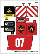 60107stk01 STICKER 60107 Fire Ladder truck NIEUW loc