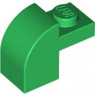 6091-6G Steen 2x1 met afgeronde kop en nop groen gebruikt *1L0000